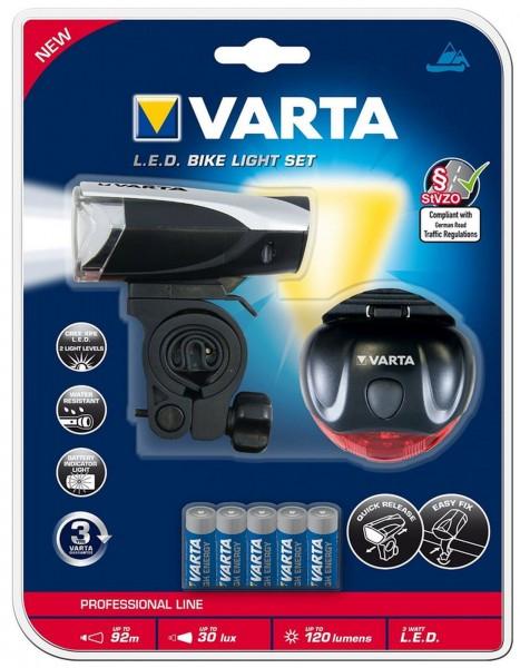 VARTA L.E.D. Fahrradleuchten Set inkl. 5x AAA Batterien